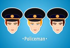 Set of vector illustrations of a policeman. Policeman. The man's face. Icon. Flat icon. Minimalism. The stylized man. Occupation. Stock Images