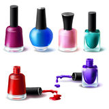 Set of vector illustrations in realistic style clean bottles with nail polish of different colors. Glass bottles with closed lids and open and blots of nail Royalty Free Stock Image
