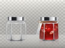 A set of vector illustrations of glass figured jars is empty and with a strawberry jam Royalty Free Stock Image