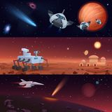 Set of vector illustrations of rover and spaceships carrying out mission of Mars and Universe exploration and conquest. Of stars and planets stock illustration