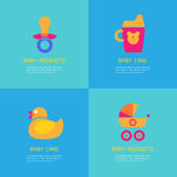 Set of vector illustrations of rubber duck, soother, sippy cup, carriage. Baby products concept Royalty Free Stock Photos