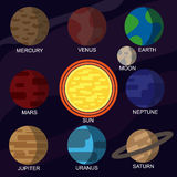 Set of vector illustrations of the solar system planets Royalty Free Stock Photos