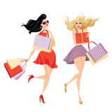 Stylish girls with shopping bags vector illustration