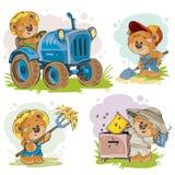 Set of vector illustrations of teddy bears tractor driver, beekeeper, farmer. Set of vector clip art illustrations of a teddy bear on a tractor, beekeeper royalty free illustration