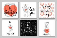 Set of 6 vector illustrations on the theme of Valentine`s Day stock illustration