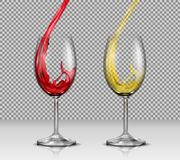 Set of vector illustrations of transparent glass wine glasses with white and red wine pouring in them Stock Photo
