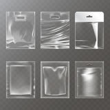 Set of vector illustrations of transparent plastic empty bags, packaging royalty free illustration