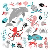 Set of vector illustrations of tropical fish, animal, seaweed and corals.  Sea life. Set of vector illustrations of tropical fish,. Set of vector illustrations Stock Photo