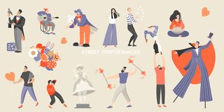 Set of vector illustrations of various street performances. Big festival of street culture and entertainment vector illustration