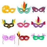 Set of vector illustrations. Venetian Masquerade Masks. Carnival party face masks Stock Photos