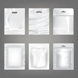 Set of vector illustrations of white plastic empty bags, packaging Stock Images