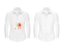 Set of vector illustrations of a white shirt with a red spot and clean, before and after a dry-cleaner s. Set of vector illustrations of a white shirt with a red Royalty Free Stock Photography