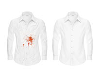 Set of vector illustrations of a white shirt with a red spot and clean, before and after a dry-cleaner Stock Photo