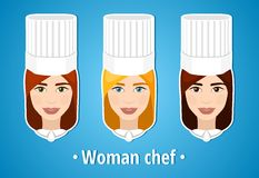 Set of vector illustrations of a woman chef. Woman chef. The girl's face. Icon. Flat icon. Minimalism. The stylized girl. Royalty Free Stock Photography