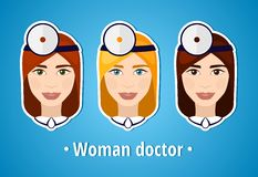 Set of vector illustrations of a woman doctor. Doctor. The girl's face. Icon. Flat icon. Minimalism. The stylized girl. Occupation Royalty Free Stock Image