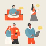Set of vector illustrations of young people chatting in messenger using phones or laptops royalty free illustration