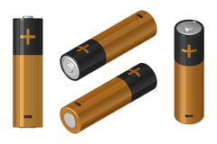 A set of vector images of AA batteries in isometric view and front view