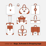 Set of vector images of bags, shopping bags,. Suitcases isolated on white background Stock Image