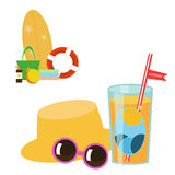 Set of vector images - beach accessories Royalty Free Stock Photos