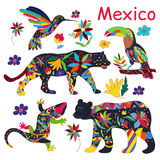 A set of vector images of Mexican animals. Vector illustration. Royalty Free Stock Images