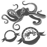Set of vector images with octopus. EPS10 Stock Photo