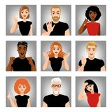 Set of vector images of people with different emotions. Avatars in cartoon style. Stock Photo