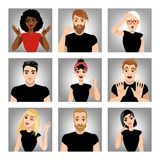 Set of vector images of people with different emotions. Gestures Stock Images