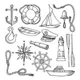 Set of vector images on the sea theme Stock Photo