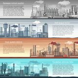 Set of vector industrial factory banners landscape. Abstract Factory, Oil and gas refinery, Chemical Manufacture. Inforgraphic template posters stock illustration