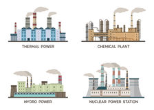 Set of vector industrial flat illustration of different types of power plants. Conception of making energy and pollution Royalty Free Stock Photography