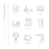 Set of vector industrial icons and concepts in mono thin line style Royalty Free Stock Photo