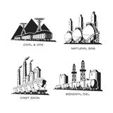 Set of vector industrial symbolic illustrations in flat style Royalty Free Stock Photos