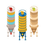Set of vector industrial towers in isometric style Royalty Free Stock Images