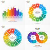 Set of vector infographic 12 options templates. For presentations, advertising, layouts, annual reports. The elements can be easily adjusted, transformed, added Royalty Free Stock Images