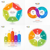 Set of vector infographic 5 options templates Royalty Free Stock Photos