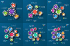 Set of vector infographic templates with gears, cogwheels Royalty Free Stock Image