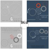 Set of vector infographic templates with gears on grey and dark. Gray backgrounds. Industry and Business concept with options, parts, steps, processes. 4 in 1 vector illustration