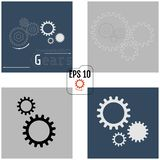 Set of vector infographic templates with gears on grey and dark. Gray backgrounds. Industry and Business concept with options, parts, steps, processes. 4 in 1 stock illustration
