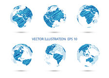 Set of vector ink drawing globe showing earth with all continent Royalty Free Stock Photo