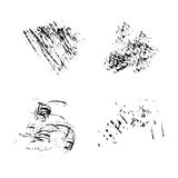 Set of vector ink grunge brush strokes. Royalty Free Stock Images