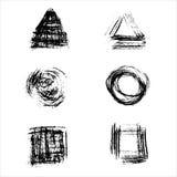 Set of vector ink grunge brush strokes. Stock Photos