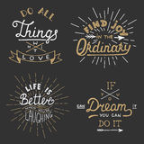 Set of vector inspirational lettering for greeting cards, prints Stock Photography