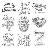 Set of vector inspirational typography slogans for greeting cards Royalty Free Stock Images