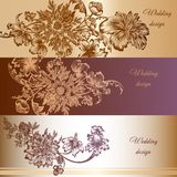 Set of vector invitation cards in vintage style Royalty Free Stock Photo