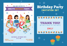 Set of Vector Invitation Flyer and Thank You Card For Teenage Girls Birthday Party With Four Pretty Friends Celebrating Stock Photos