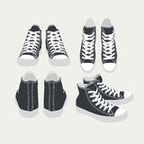 Set of vector isolated cartoon black sneakers Stock Image