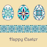 Set of vector isolated easter eggs with beautiful azulejos ornaments. Happy Easter background with decorative border Royalty Free Stock Photos