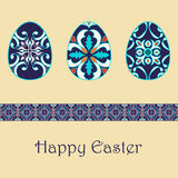 Set of vector isolated easter eggs with beautiful azulejos ornaments. Happy Easter background with decorative border Stock Images