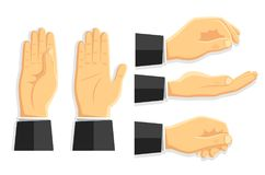 Set of vector isolated hands. Vector illustration in the style of flat. A set of isolated hands. Empty hands for your design. Different staging and camera angle Stock Photography
