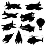 Set of vector isolated plane icons Royalty Free Stock Photo